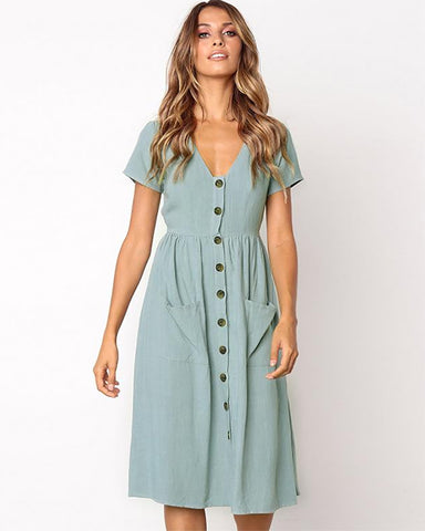 Vivid Imagination Button Swing Dress With Pockets
