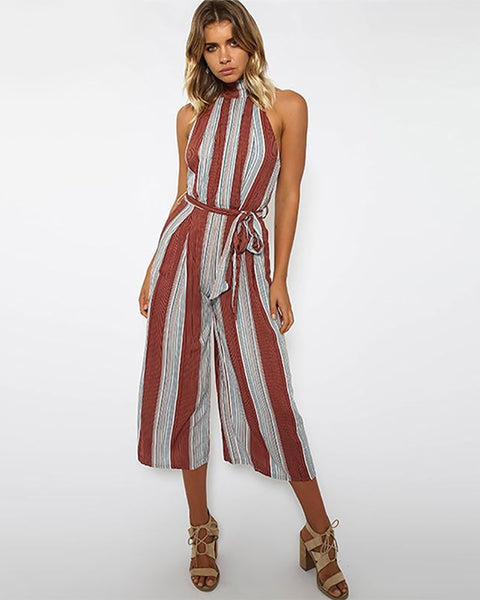 Vertical Striped Wide Leg Jumpsuit