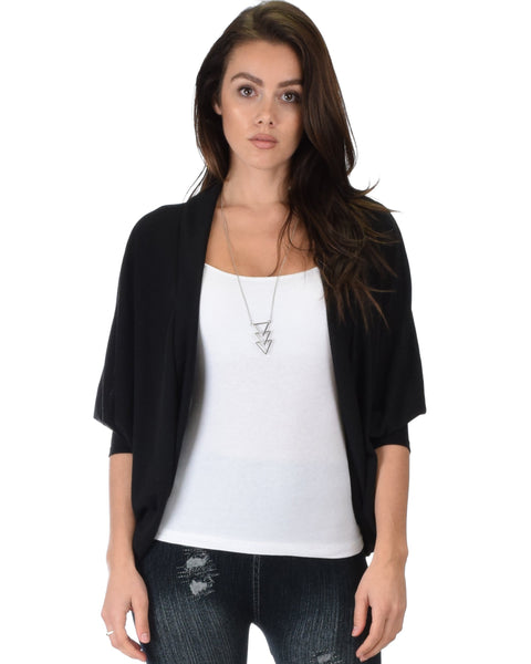 Lyss Loo Comin' Up Cozy Black Long Sleeve Cocoon Cardigan - Clothing Showroom