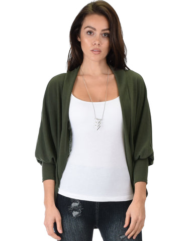 Lyss Loo Comin' Up Cozy Olive Long Sleeve Cocoon Cardigan - Clothing Showroom