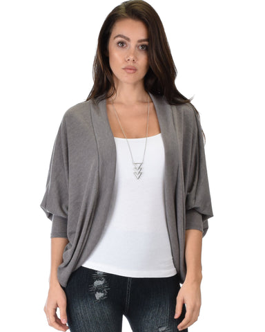 Lyss Loo Comin' Up Cozy Taupe Long Sleeve Cocoon Cardigan - Clothing Showroom