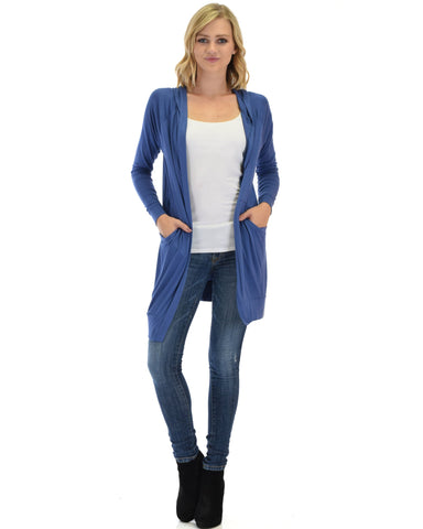 Long Line Hooded Cardigan With Pockets