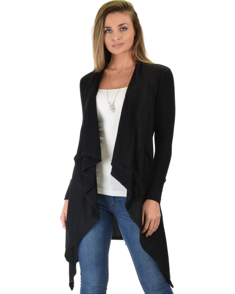 Lyss Loo Good Natured Cozy Black Sweater Cardigan - Clothing Showroom