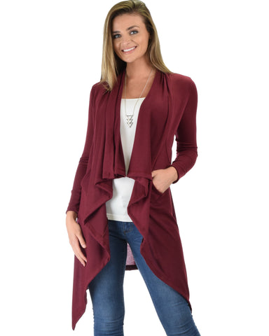 Lyss Loo Good Natured Cozy Burgundy Sweater Cardigan - Clothing Showroom