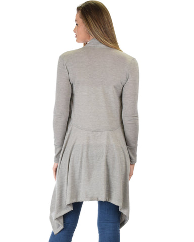 Lyss Loo Good Natured Cozy Grey Sweater Cardigan - Clothing Showroom