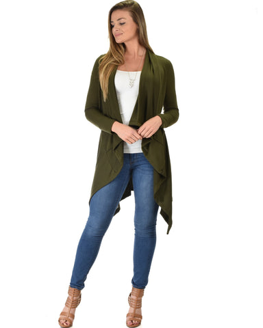 Lyss Loo Good Natured Cozy Olive Sweater Cardigan - Clothing Showroom