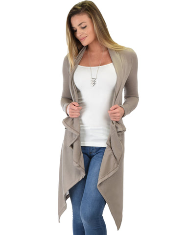 Lyss Loo Good Natured Cozy Taupe Sweater Cardigan - Clothing Showroom