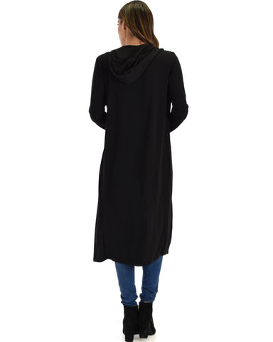 Lyss Loo Cover Me Up Long-line Black Hooded Cardigan - Clothing Showroom