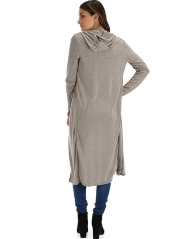 Lyss Loo Cover Me Up Long-line Grey Hooded Cardigan - Clothing Showroom