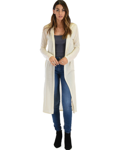 Lyss Loo Cover Me Up Long-line Ivory Hooded Cardigan - Clothing Showroom