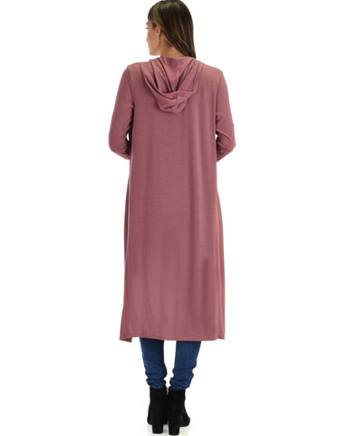Lyss Loo Cover Me Up Long-line Marsala Hooded Cardigan - Clothing Showroom