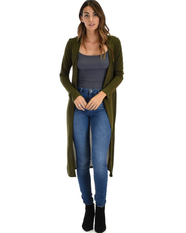 Lyss Loo Cover Me Up Long-line Olive Hooded Cardigan - Clothing Showroom