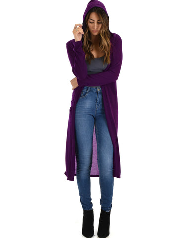 Lyss Loo Cover Me Up Long-line Purple Hooded Cardigan - Clothing Showroom