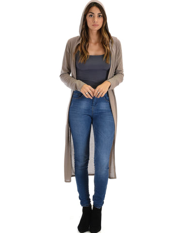 Lyss Loo Cover Me Up Long-line Taupe Hooded Cardigan - Clothing Showroom