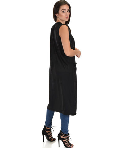 Lyss Loo Cover Me Up Long-line Black Cardigan Vest With Pockets - Clothing Showroom
