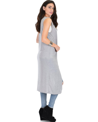 Lyss Loo Cover Me Up Long-line Grey Cardigan Vest With Pockets - Clothing Showroom