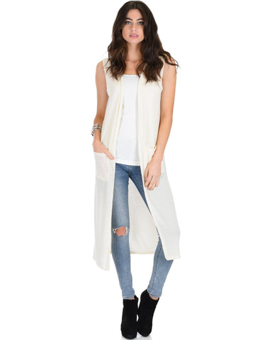 Lyss Loo Cover Me Up Long-line Ivory Cardigan Vest With Pockets - Clothing Showroom