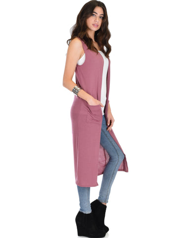 Lyss Loo Cover Me Up Long-line Marsala Cardigan Vest With Pockets - Clothing Showroom