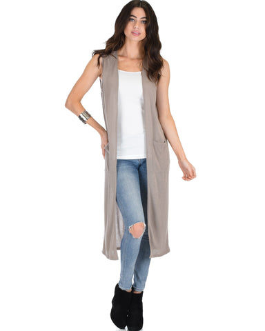 Lyss Loo Cover Me Up Long-line Taupe Cardigan Vest With Pockets - Clothing Showroom