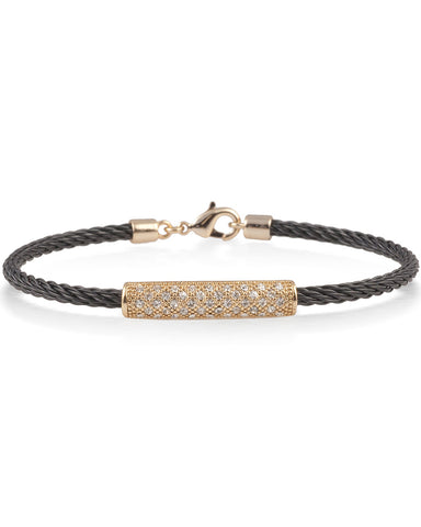 Black Cable Bracelet With Cubic Zirconia Crystal Rose Bar