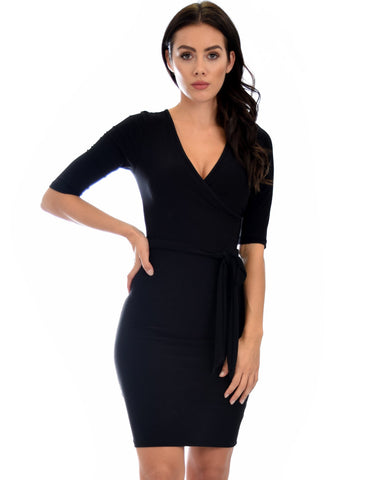 Lyss Loo Ride or Tie Bodycon Black Wrap Dress - Clothing Showroom