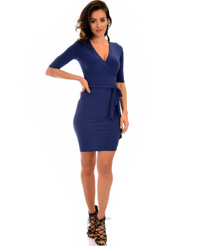 Lyss Loo Ride or Tie Bodycon Navy Wrap Dress - Clothing Showroom