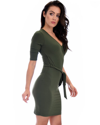 Lyss Loo Ride or Tie Bodycon Olive Wrap Dress - Clothing Showroom
