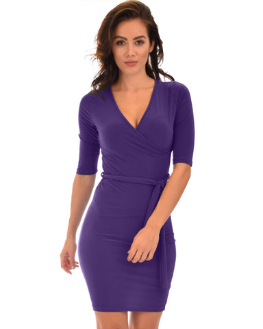 Lyss Loo Ride or Tie Bodycon Purple Wrap Dress - Clothing Showroom