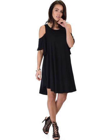 Lyss Loo Sun Kissed Cold Shoulder Draped Black Tunic Dress - Clothing Showroom
