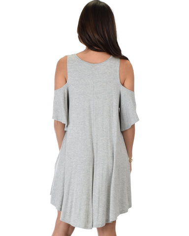 Lyss Loo Sun Kissed Cold Shoulder Draped Grey Tunic Dress - Clothing Showroom