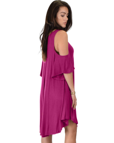 Lyss Loo Sun Kissed Cold Shoulder Draped Magenta Tunic Dress - Clothing Showroom