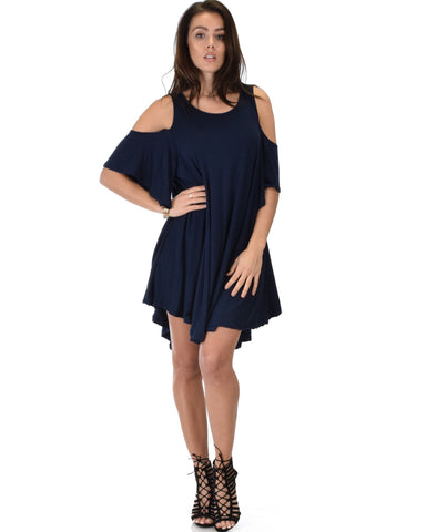 Lyss Loo Sun Kissed Cold Shoulder Draped Navy Tunic Dress - Clothing Showroom