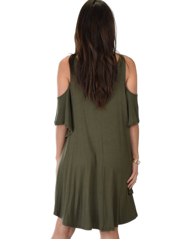 Lyss Loo Sun Kissed Cold Shoulder Draped Olive Tunic Dress - Clothing Showroom