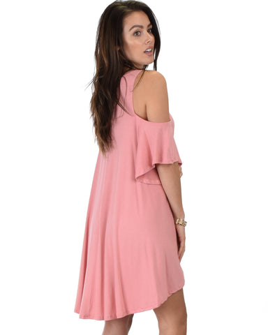 Lyss Loo Sun Kissed Cold Shoulder Draped Pink Tunic Dress - Clothing Showroom