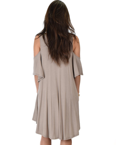 Lyss Loo Sun Kissed Cold Shoulder Draped Taupe Tunic Dress - Clothing Showroom