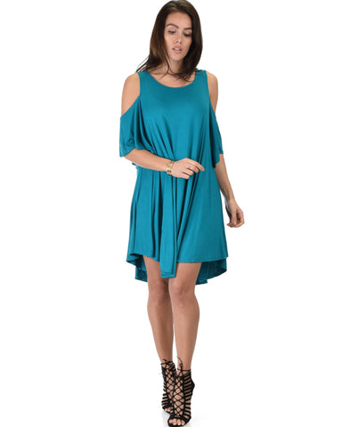 Lyss Loo Sun Kissed Cold Shoulder Draped Teal Tunic Dress - Clothing Showroom