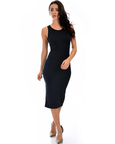 Lyss Loo Hourglass Bodycon Black Midi Dress - Clothing Showroom