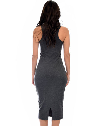 Lyss Loo Hourglass Bodycon Charcoal Midi Dress - Clothing Showroom