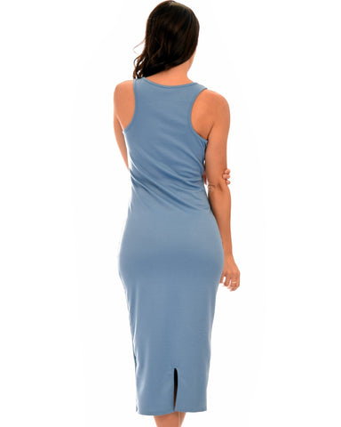 Lyss Loo Hourglass Bodycon Blue Midi Dress - Clothing Showroom