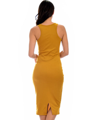 Lyss Loo Hourglass Bodycon Mustard Midi Dress - Clothing Showroom