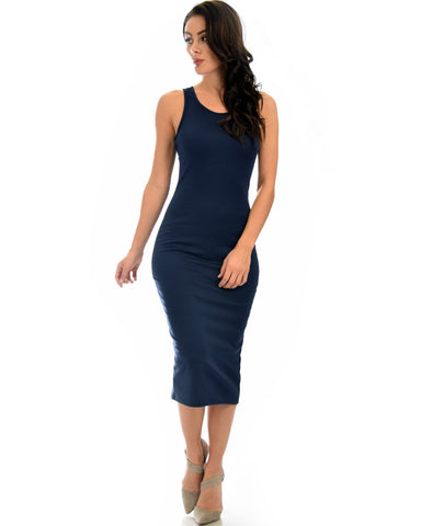 Lyss Loo Hourglass Bodycon Navy Midi Dress - Clothing Showroom