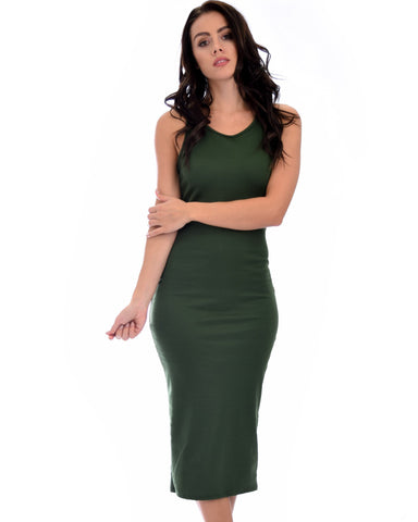 Lyss Loo Hourglass Bodycon Olive Midi Dress - Clothing Showroom