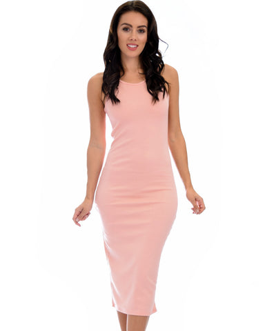 Lyss Loo Hourglass Bodycon Pink Midi Dress - Clothing Showroom