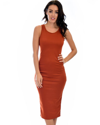 Lyss Loo Hourglass Bodycon Rust Midi Dress - Clothing Showroom