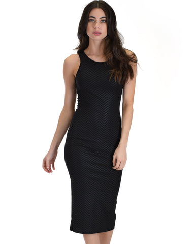 Lyss Loo Hourglass Bodycon Black Pattern Midi Dress - Clothing Showroom