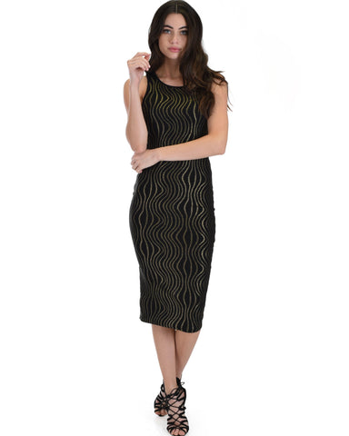 Lyss Loo Hourglass Bodycon Gold Pattern Midi Dress - Clothing Showroom