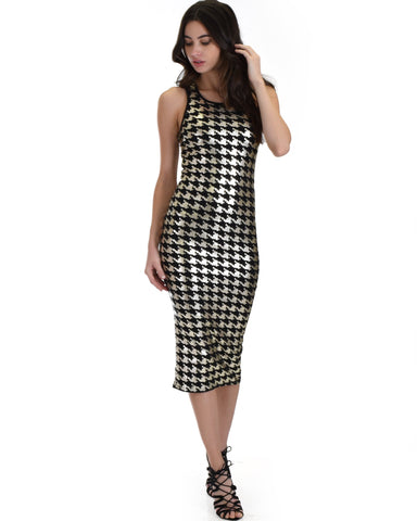 Lyss Loo Hourglass Bodycon Silver Pattern Midi Dress - Clothing Showroom