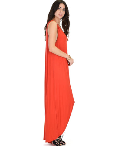 Rock & Ready Sleeveless Hi-Lo Maxi Dress