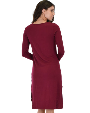 Lyss Loo Kiss The Moon Long Sleeve Burgundy Midi Dress - Clothing Showroom