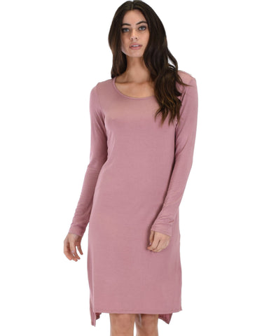 Lyss Loo Kiss The Moon Long Sleeve Mauve Midi Dress - Clothing Showroom